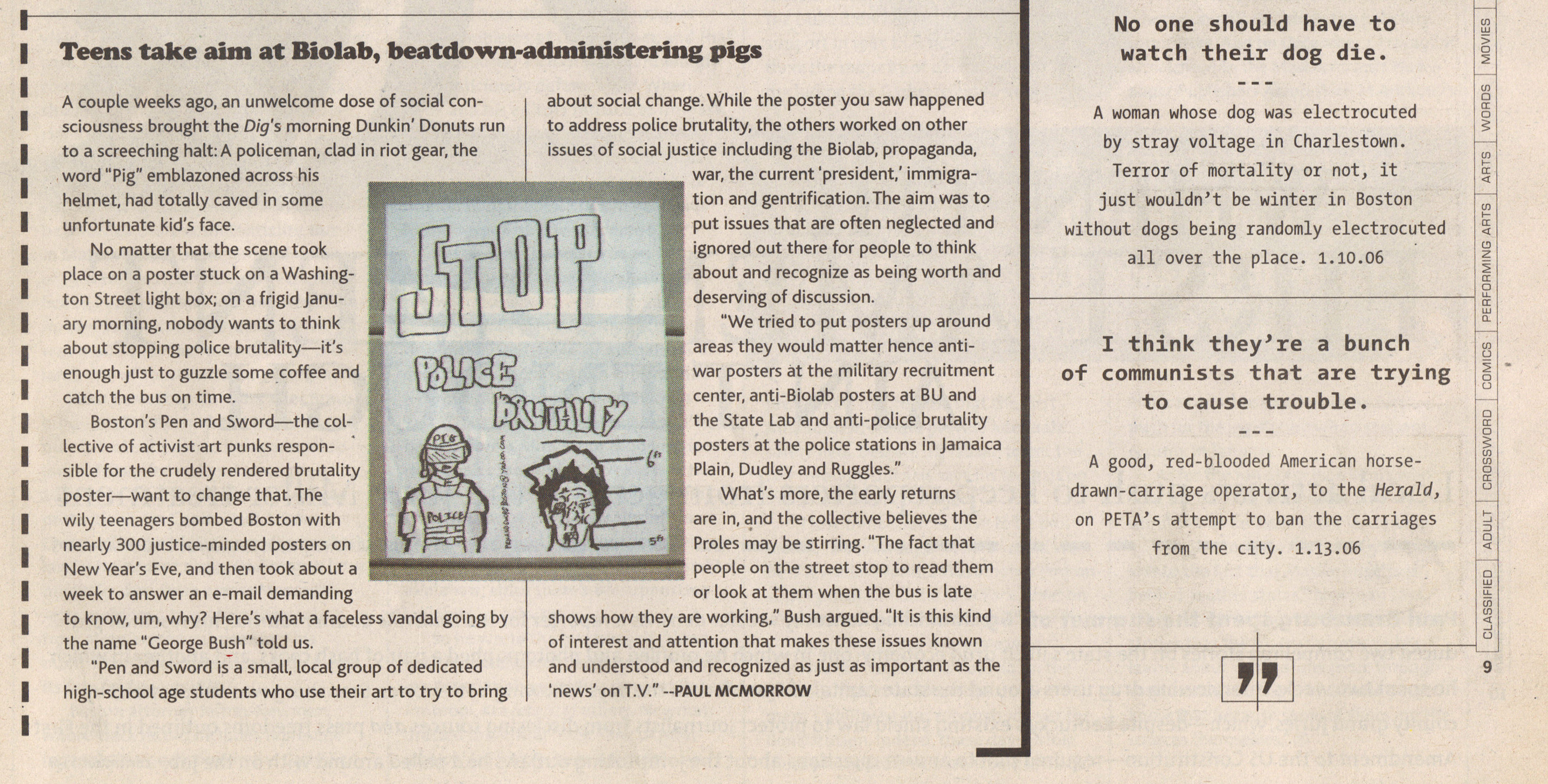 Teens take aim at biolab, beatdown-administering pigs - By Paul McMorrow - Weekly Dig