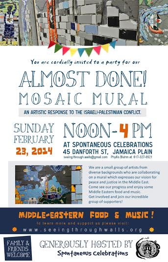 Israel / Palestine Peace Justice Mosiac Mural – Almost Done Show – Feb. 23